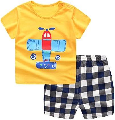 [Patrocinado] baywell Juego de Boy trajes ropa de bebé, bebé Cute Cartoon imágenes letra impresora playera + pantalones