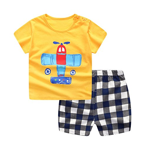 Baywell Baby Boy Outfits Clothes Set, Toddler Cute Cartoon Pictures Letter Printer T-Shirt + Pant (M/12-24M/80, Yellow)