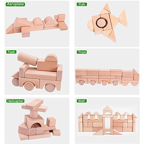 iPlay, iLearn Kids Building Block Set, 72 PCS Wood Blocks, Natural Wooden Stacking Cubes, Structure Tile Game, Educational and Activity Toy for Age 3, 4, 5 Year Olds, Children, Toddlers, Boys, Girls by iPlay, iLearn (Image #4)