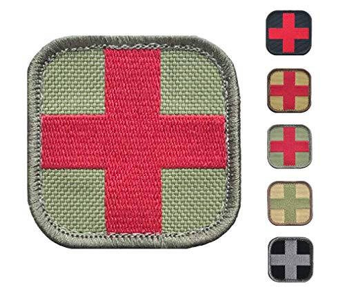 Medic Cross First Aid Morale Patch - Stitch/Embroidered - Perfect for IFAK Rip Away Pouch, EMT, EMS, Trauma, Medical, Paramedic First Response Rescue Kit - Tactical, Combat, Emergency (OD Green-RED)