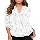 KYLEON Women's Blouse Long Sleeve Deep V Neck Polka Dot Roll Tab Casual Summer Teens Girls Loose Pullover T-Shirts Tops White