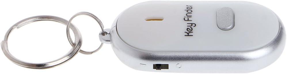 BELTI Llavero LED Blanco Buscador de Llaves Localizador Buscar Llaves perdidas Cadena Llavero Silbato Control de Sonido