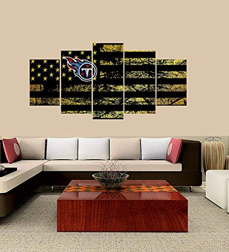(XINGAKA Premium Quality XINGAKAed Wall 5 Pieces / 5 Pannel Wall Decor Tennessee Titans Logo Painting, Home Decor Football Sport Pictures)