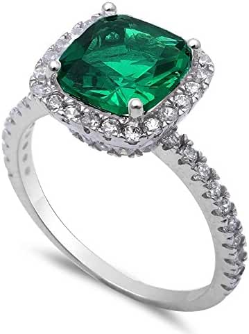 3ct Cushion Cut Simulated Green Emerald & CZ .925 Sterling Silver Ring Sizes 5-11