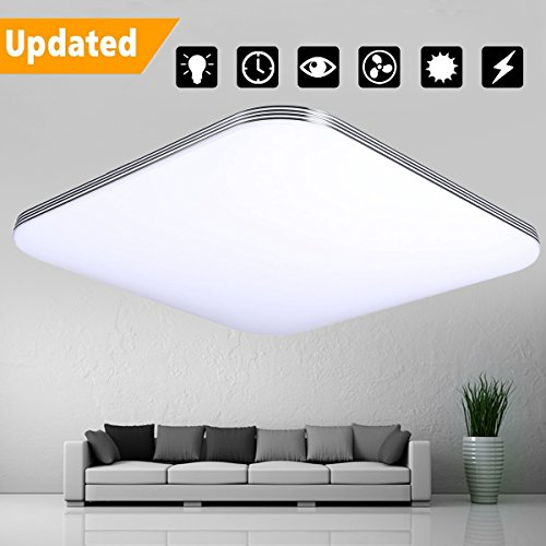 LED Flush Mount Ceiling Light, KingSo 13.4'' Silver Trimmed Upgraded Ceiling Lamp 16W (120W Incandescent Equivalent) 6000K Pure White 1400Lumens Square Ceiling Lamp for Kitchen Living Room Hotel