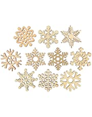 Holibanna DIY Wooden Snowflakes Christmas Hanging Wood Chips Unfinished Tree Hanging Embellishments Crafts Slices