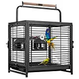 VIVOHOME 18 Inch Wrought Iron Bird Travel Carrier Cage for Parrots Conures Lovebird Cockatiel Parakeets