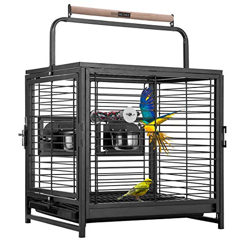 VIVOHOME 19 Inch Wrought Iron Bird Travel Carrier Cage for Parrots Conures Lovebird Cockatiel Parakeets