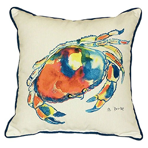 Betsy Drake Dungeness Crab Extra Large 22 X 22 Indoor / Outdoor White Pillow price
