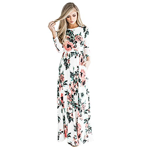 HOOYON Women's Autumn Casual Floral Printed Long Maxi Dress White M Floral Dress