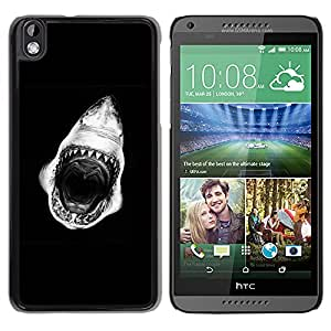 Exotic-Star ( Mouth Teeth Black White ) Fundas Cover Cubre Hard Case Cover para HTC DESIRE 816