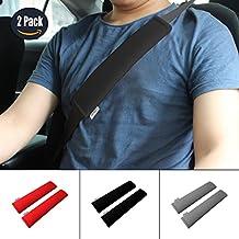 GAMPRO Car Seat Belt Pad Cover, 2-Pack Soft Car Safety Seat Belt Strap Shoulder Pad for Adults and Children, Suitable for Car Seat Belt, Backpack, Shoulder Bag(BLACK)