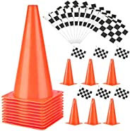 PACEARTH 11 Inch Traffic Cones with Chequered Flags 10 Pack Orange Cones Thick Soccer Training Cones for Outdo