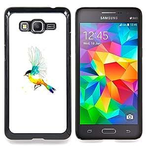 """Pájaro del arco iris"""" - Metal de aluminio y de plástico duro Caja del teléfono - Negro - Samsung Galaxy Grand Prime G530F G530FZ G530Y G530H G530FZ/DS"""