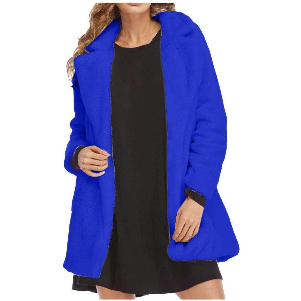 Dainzuy Women Warm Long Sleeve Parka Winter Lapel Fox Faux Fur Coat Overcoat Fluffy Jacket with Pockets Blue by Dainzuy Women Winter Clothes