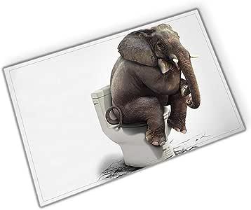 White Toilet Brown Elephant on White Background Bathroom mat Right Angle Non-Slip Door pad Children 40X60CM