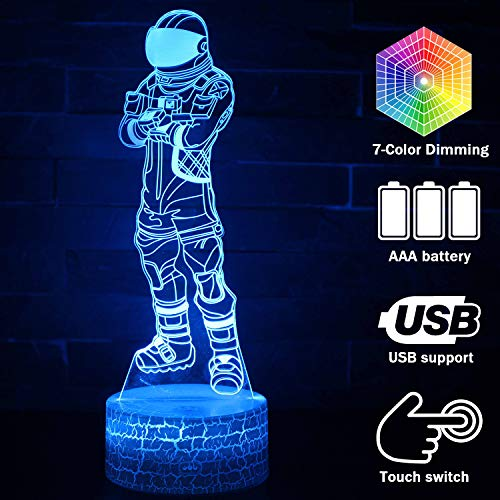 Cool Fortress 3D Lamp Night Light for Boys USB Touch Sensitive Controllable Lamp 3D Visual Children's Room Decoration (Dark Voyager)