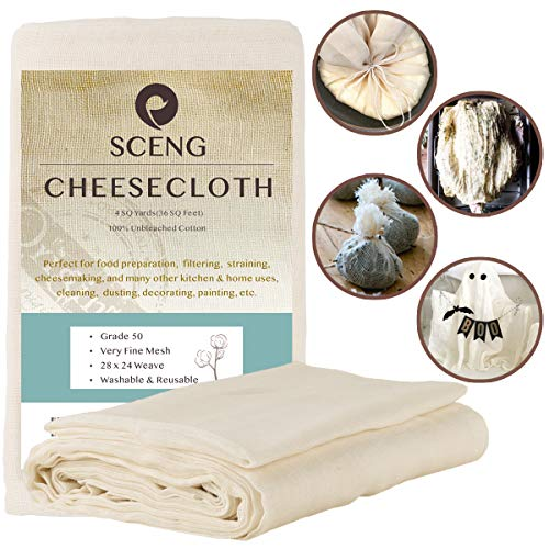 Cheesecloth, Grade 50, 36 Sq Feet, Reusable, 100%