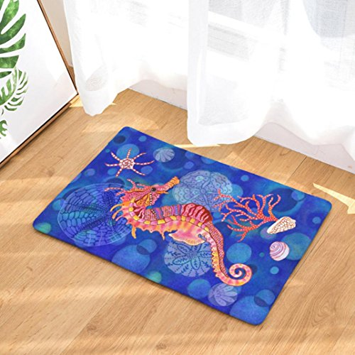 YJYdada Ocean Shell Home Non Slip Door Floor Mats Hall Rugs Kitchen Bathroom Carpet Deco (F) Deco Toilet