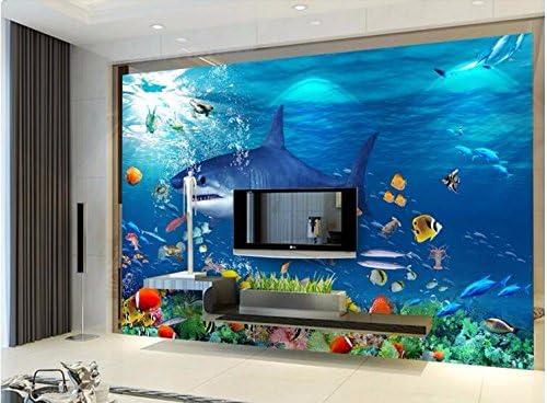 Weaeo 3Dルームの壁紙カスタム壁画不織壁のステッカーサメの海の海の写真3D壁の壁画の壁紙-280X200Cm
