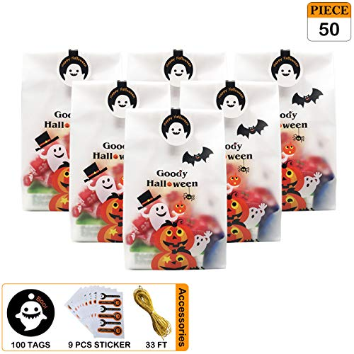 Pack of 50 Halloween Candy Bags, 4'' x 10'' Trick or Treat Pumpkin Plastic Goody Cookie Bags, 100 pcs Ghost Boo Gift Tags and 6 Sealing Sticker, Halloween Decorations Décor Kids Party Favors Supplies -