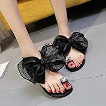 GTVERNH-Gem Set Toe Shoes Summer Sandals Jacobs Bow Flat Flat Leather Pu Slippers A Drag