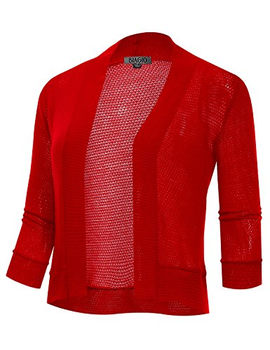 (BIADANI Women's 3/4 Sleeve Cropped Waffle Cardigan Red Large)