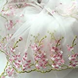 Lace Fabric White Organza Pink Floral Embroidery Wedding Bridal by the yard