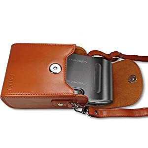 PiuQ Premium Leather [Deluxe Box] Protective Compact Case with Magnetic Closure and Strap Compatible with Canon, Sony, Casio, Panasonic Point & Shoot Digital Camera by PiuQ