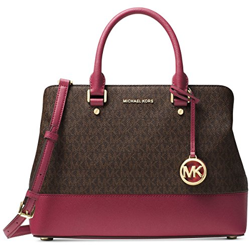 MICHAEL Michael Kors Savannah Large Satchel (Brown/Mulberry) by Michael Kors