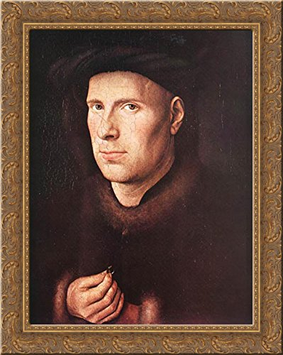 Portrait of Jan de Leeuw 20x24 Gold Ornate Wood Framed Canvas Art by Eyck, Jan van