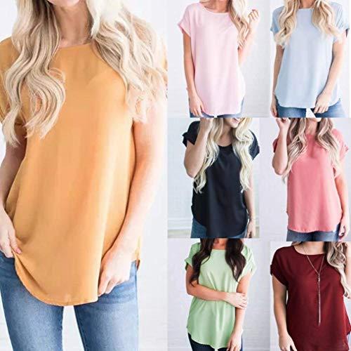 Sottile Collo Casual Tshirt Blusa Donna Manica Estivi Gelb Monocromo Magliette Tops Chiffon Ragazza Elegante Corta Moda Classica Rotondo Chic 68pwPW