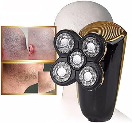 Cabeza calva Cortapelos & afeitadora eléctrica Barba hombre 2 in1 Wet & Dry recargable afeitadora Barba impermeable ...