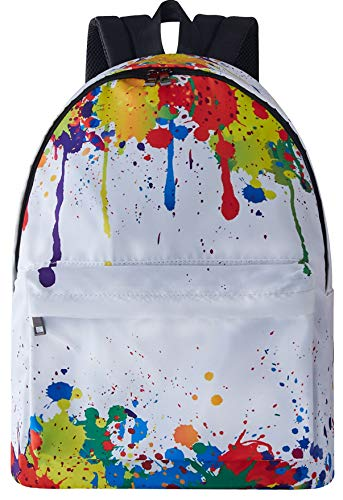 Leapparel Funky Fashion Lightweight backpack Perfect Gift for Back to School White Colorful Tie-dye Oil Paint Good Quality Simple Grade School Knapsacks for Ladies Guys Youth Junior Teenage Girls Boys (Teen Girls For Cool Backpacks)