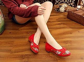 LTQ&QING new-Chaussures brod¨¦es, semelles tendineuses, style ethnique, chaussures en tissu f¨¦minin, mode, confortable, d¨¦contract¨¦ dans l'augmentation, red, 40 chaussures en tissu fšŠminin
