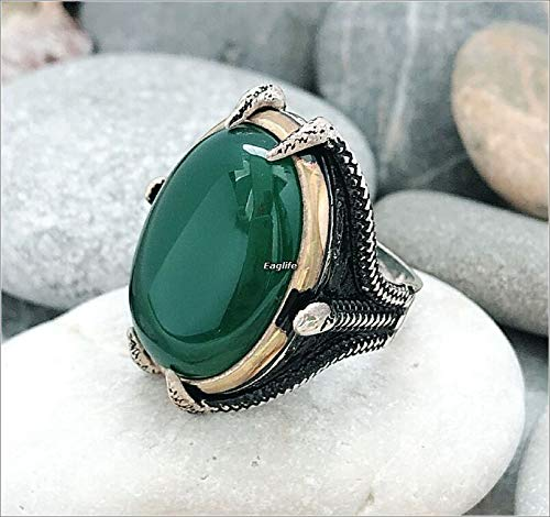Handmade Big Face 925 Sterling Silver Natural Green Agate Stone Snake Mouth Men's Ring (Green Stone Agate)