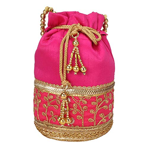Indian Handicraft Potli With Golden Lase Indian Ethnic Drawstring Bag Marriage Return Gift Women Handbag (Pink) ()