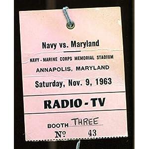 1963 Navy v Maryland Football Media Press Pass Ticket Roger Staubach 43583