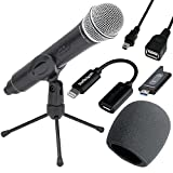 Samson Stage X1U Digital Wireless Handheld Microphone For iPhones ,iPad + Foam Windscreen + Micro USB to 8-Pin Lightning Adapter + Mini USB 2.0 Cable – Top Value Samson Microphone Bundle!