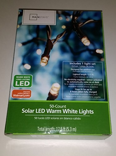 Mainstays 50 ct Solar LED Warm White Lights by Mainstays