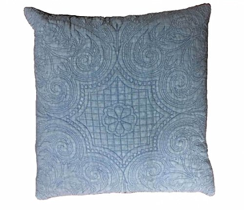 KASENTEX Stone-Washed 100% Cotton Polyester Filling Floral Embroidery Stitched Decorative Square Accent Pillow for Bed Couch Sofa Chair Bedroom Living Room Perfect Size 18x18, Chambray Blue