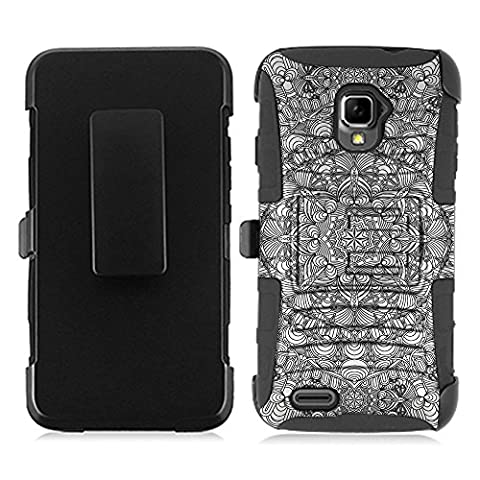 ZTE Rapido LTE Z932L Case, Fincibo (TM) Dual Layer Hybrid Armor Heavy Duty Hard Protector Cover Kickstand Stand Soft TPU Skin with Holster, Flower Tribal Black White (Zte Rapido Phone Cases)