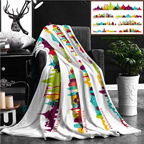 """Unique Custom Flannel Blankets Skyline Detailed Silhouette Set Thailand Malaysia India Indonesia China Vietnam Japan Super Soft Blanketry for Bed Couch, Throw Blanket 60"""" x 40"""" by Nalagoo"""