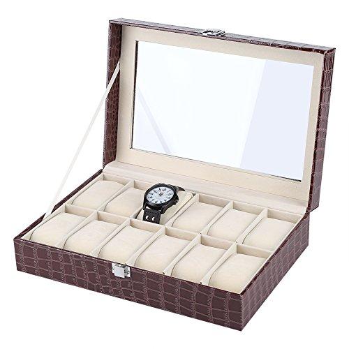 Fdit Caja de Reloj con 12 Compartimentos para Relojes y Joyería Caja Organizador Oficina Escritorio Armario Negro Caja de...