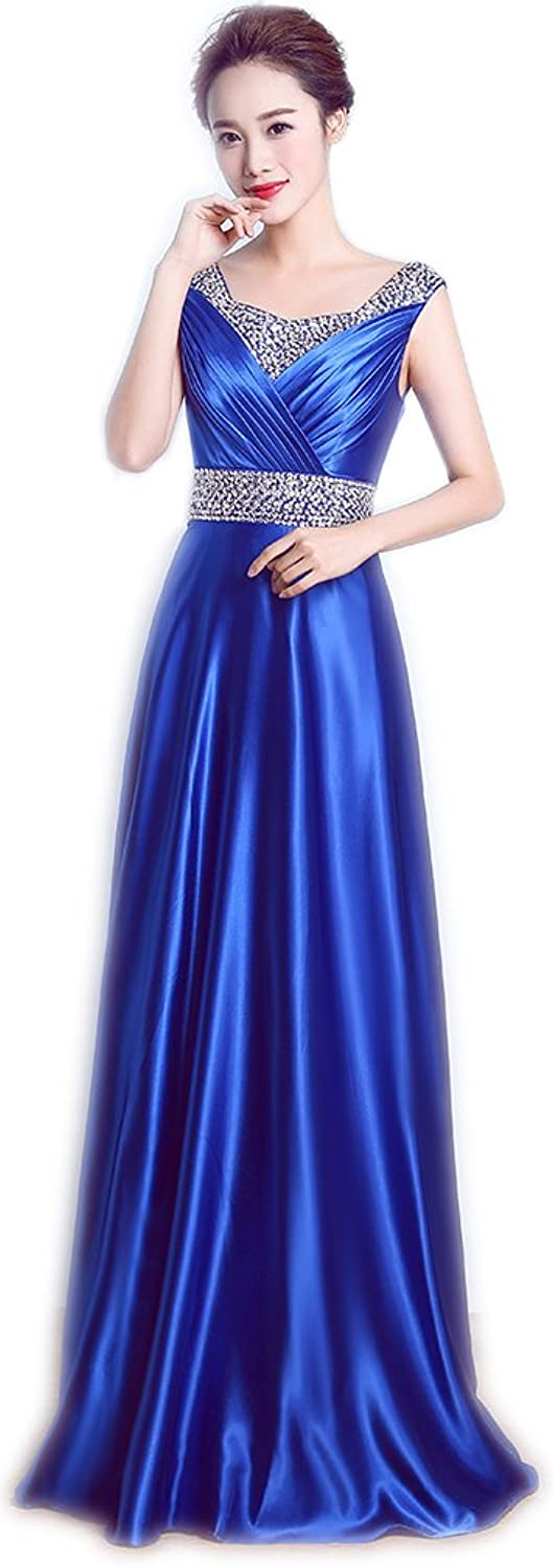 Ikerenwedding Women's Sleeveless Zipper V-Back Sequins Maxi Evening Dress