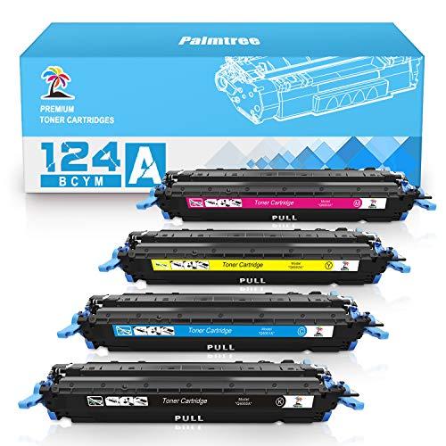 Palmtree Compatible Toner Cartridge Replacement for HP 124A Q6000A Q6001A Q6002A Q6003A Color Laserjet 1600 2600n 2605dn 2605dtn CM1015 CM1017 MFP (Black, Cyan, Yellow, Magenta, 4-Pack)