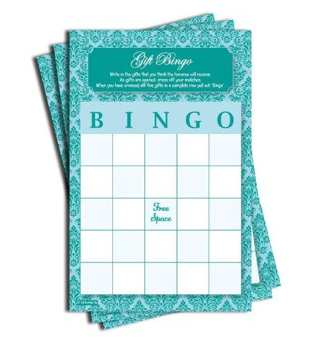 Gift Bingo - Baby Shower - Bridal Shower - Blue Teal Damask (50-sheets) - Blank Bingo Cards
