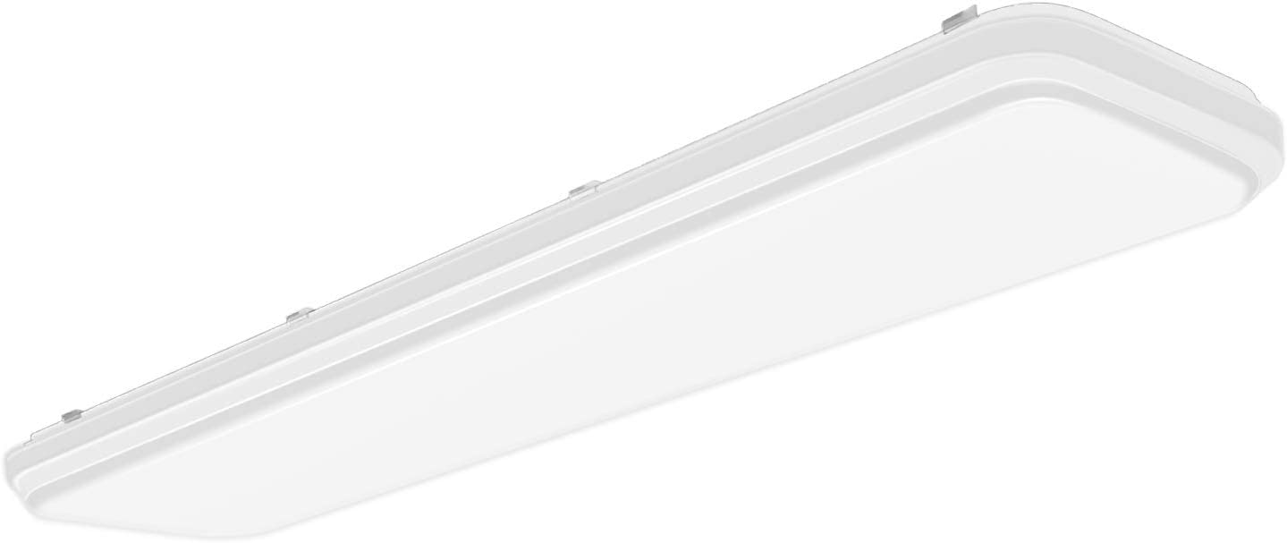 Hykolity 4FT LED Flush Mount Puff Ceiling Light, 60W [4-lamp 32W Fluorescent Equiv] 6600lm, 4000K Neutral White, 48 Inch Linear LED Kitchen Light Fixture for Utility Room, Laundry, Garage, ETL Listed