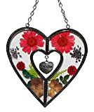 Stained Glass Suncatcher For Windows Grandma Heart Grandma Suncatcher Windows with Pressed Flower Grandma - Heart Suncatcher - Grandma Gifts Gift for Grandma's Day (4.754.75)