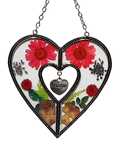 Stained Glass Suncatcher For Windows Grandma Heart Grandma Suncatcher Windows with Pressed Flower Grandma - Heart Suncatcher - Grandma Gifts Gift for Grandma's Day (4.754.75) by Tiffany Lamp & Gift Factory